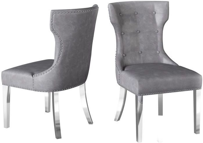 Alisa Cloudy Grey Leather and Chrome Dining Chair (Pair)