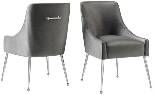 Claudia Dark Grey Velvet and Chrome Dining Chair (Pair)