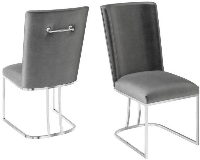 Ivana Dark Grey Velvet and Chrome Dining Chair (Pair)