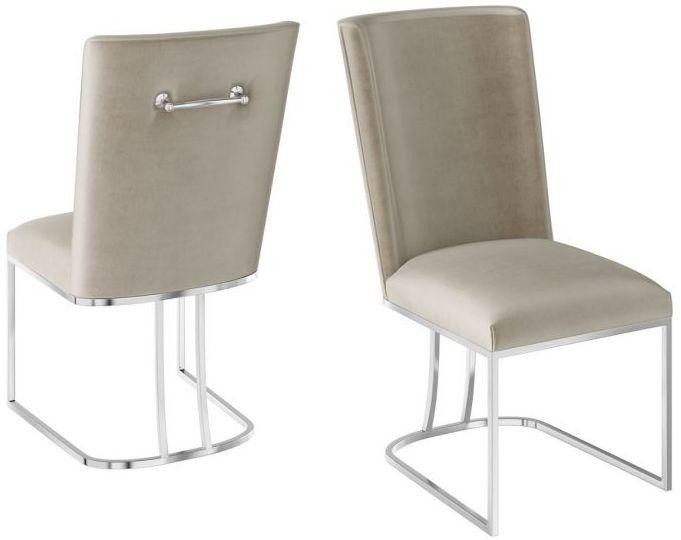 Ivana Mink Velvet and Chrome Dining Chair (Pair)