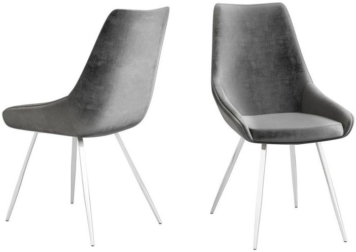 Lanna Dark Grey Velvet and Chrome Dining Chair (Pair)