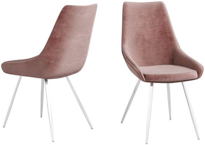 Lanna Pink Velvet and Chrome Dining Chair (Pair)