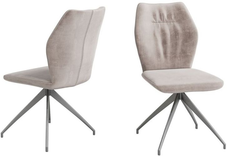 Sena Mink Velvet and Grey Dining Chair (Pair)