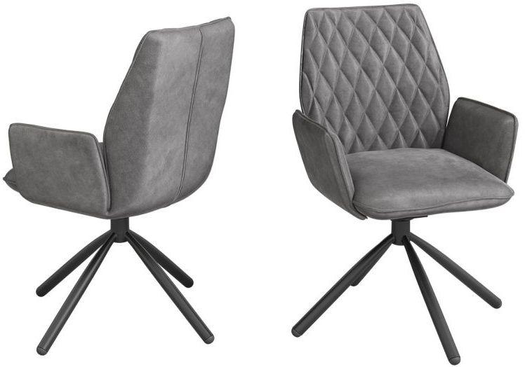 Zanetti Dark Grey Velvet and Black Dining Chair (Pair)