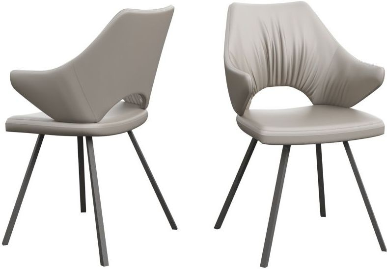 Zola Taupe Faux Leather and Graphite Dining Chair (Pair)