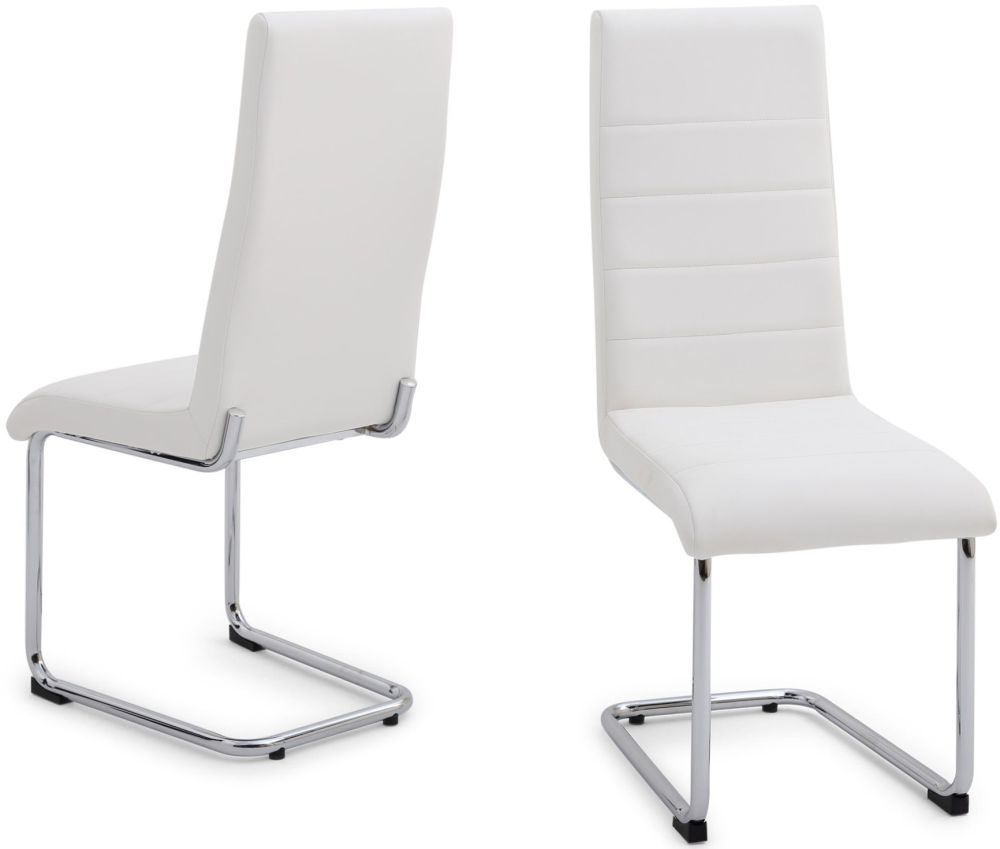 Buy Hugo White Faux Leather Dining Chair With Chrome Legs Pair