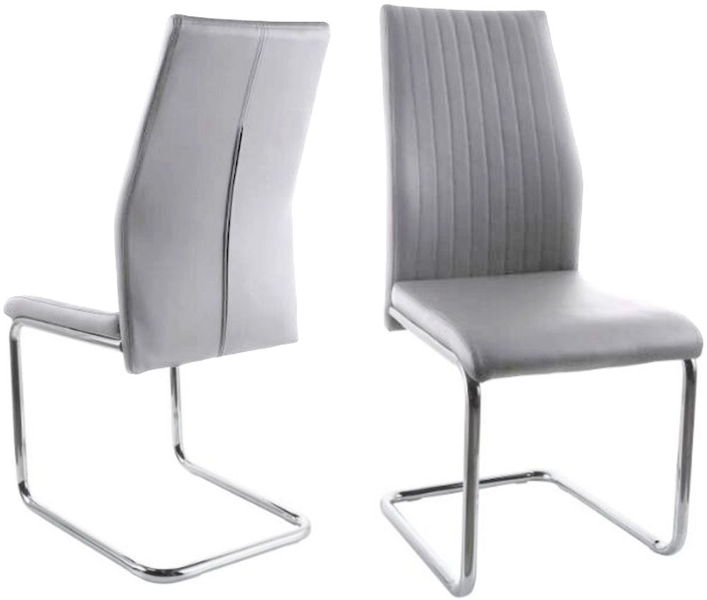 reputable site 93328 b258b Aldo Dining Chair (Pair) - Light Grey Faux Leather and Chrome
