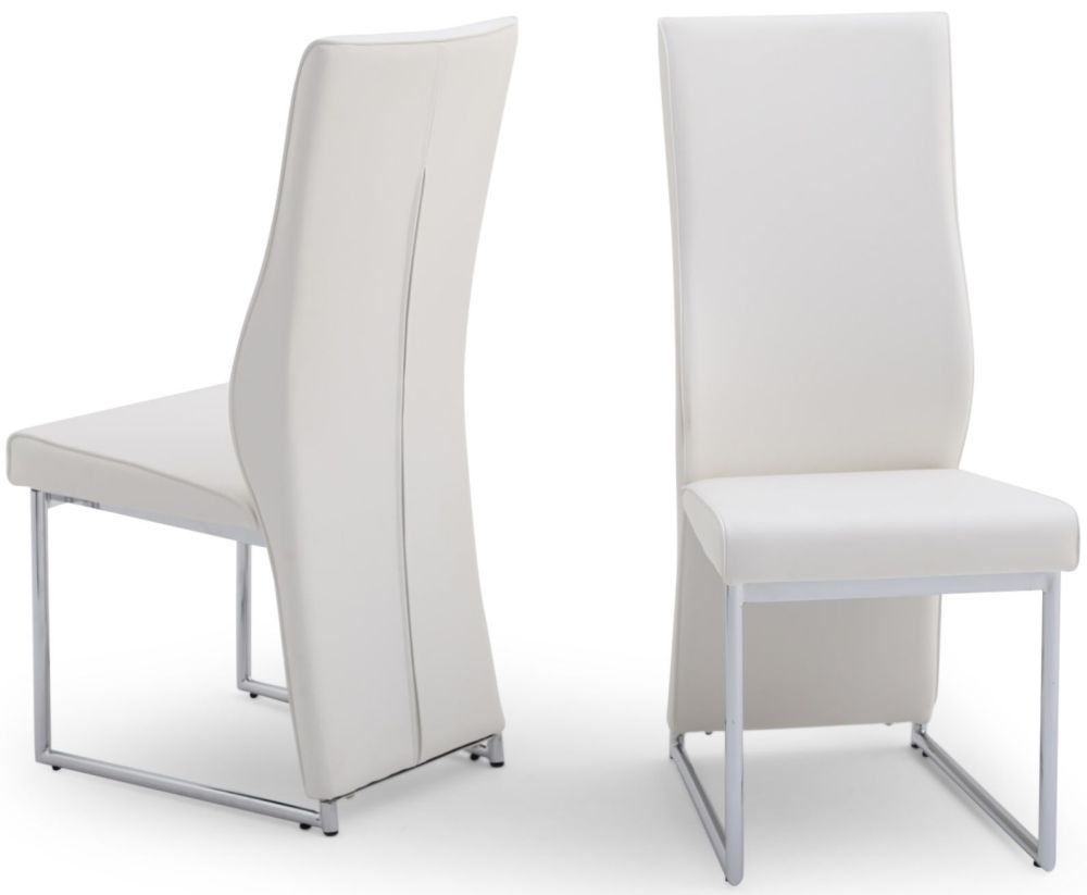 Buy Remo White Faux Leather Dining Chair With Chrome Legs Pair