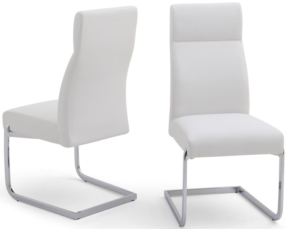Buy Dante White Faux Leather Dining Chair With Chrome Legs Pair