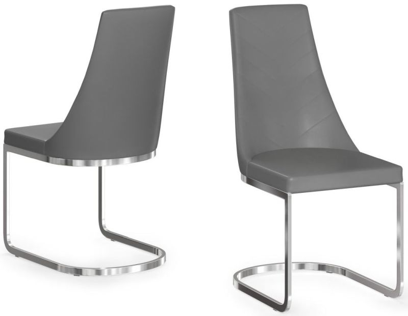 Mia Grey Faux Leather Dining Chair (Pair)