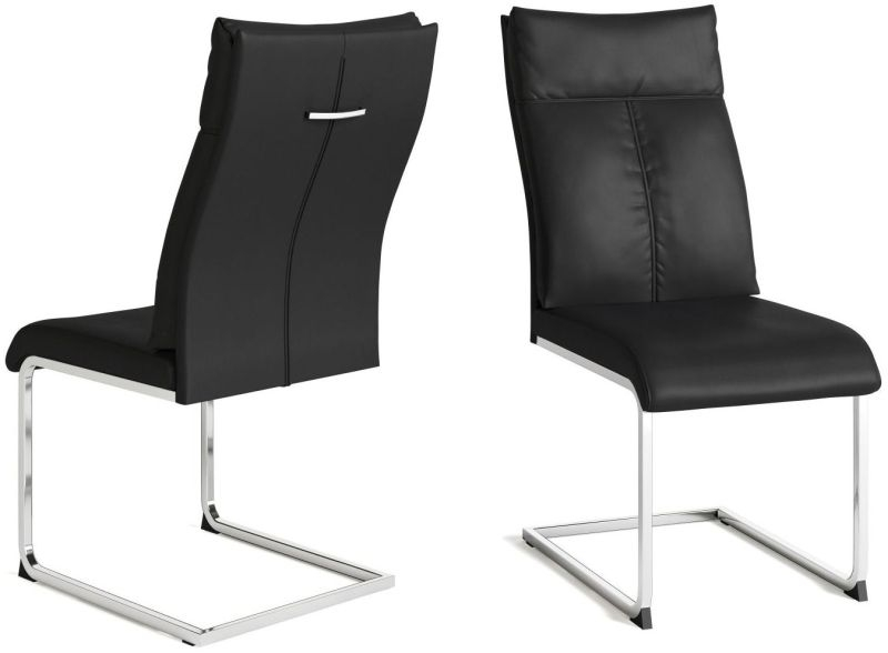 Rossi Black Faux Leather Dining Chair (Pair)