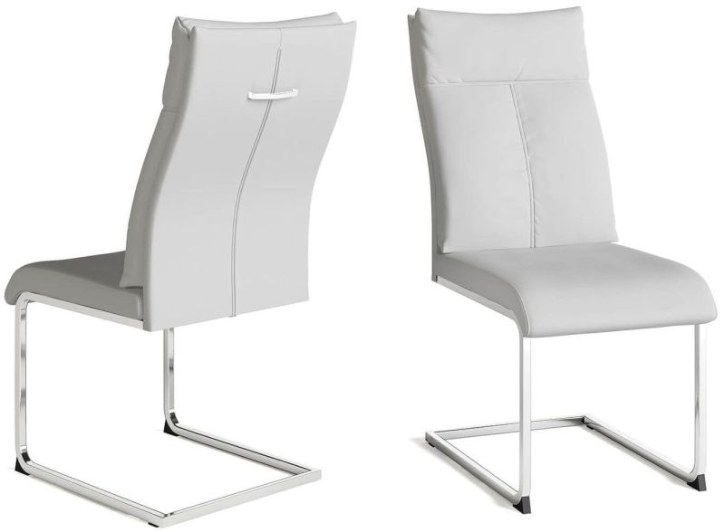 Rossi White Faux Leather Dining Chair (Pair)