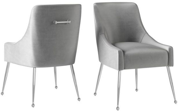Claudia Silver Grey Velvet and Chrome Dining Chair (Pair)