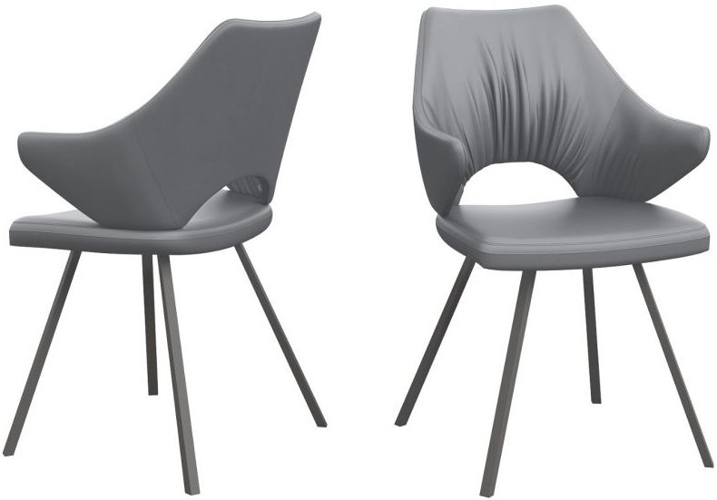 Zola Grey Faux Leather and Graphite Dining Chair (Pair)