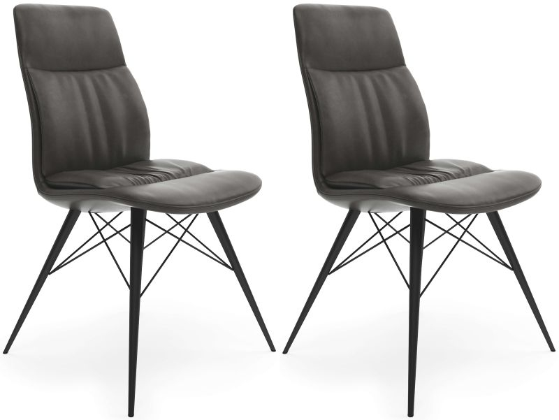 Alexa Antique Grey Faux Leather Dining Chair (Pair)