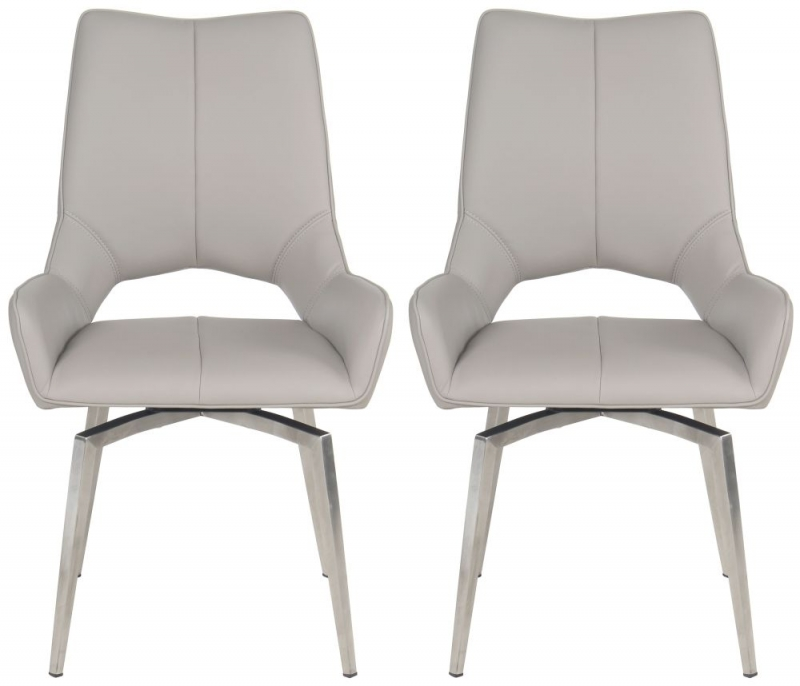 Buy Dining Chairs By Ryc Furniture Online: Buy Spinello Taupe Faux Leather Swivel Dining Chair With