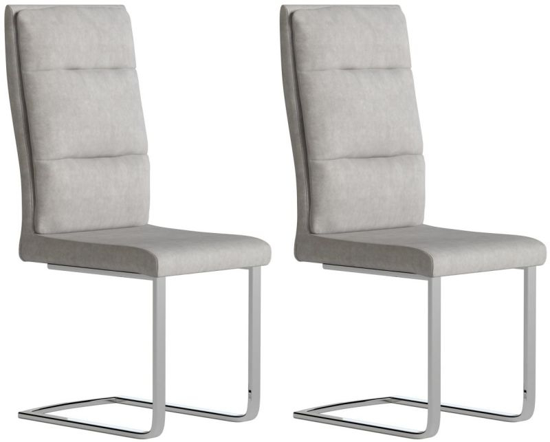 Leana Antique Light Grey Faux Leather Dining Chair (Pair)
