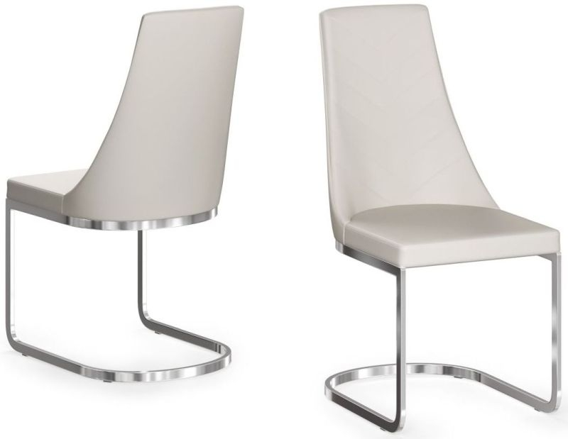 Mia Cream Faux Leather Dining Chair (Pair)
