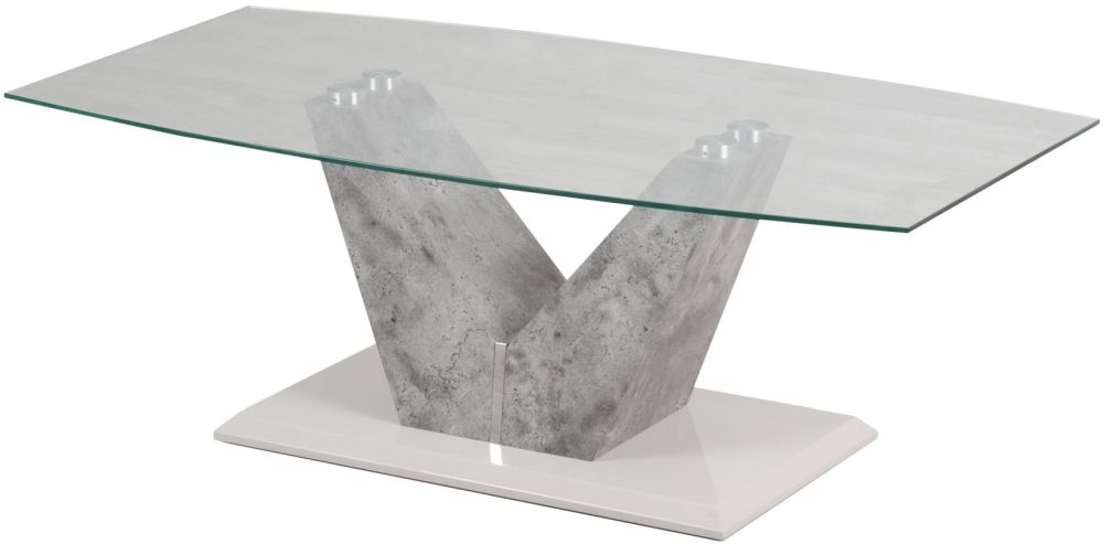 Buy Dolce Grey Concrete Look Coffee Table With Glass Top Online CFS UK - Marble base glass top coffee table