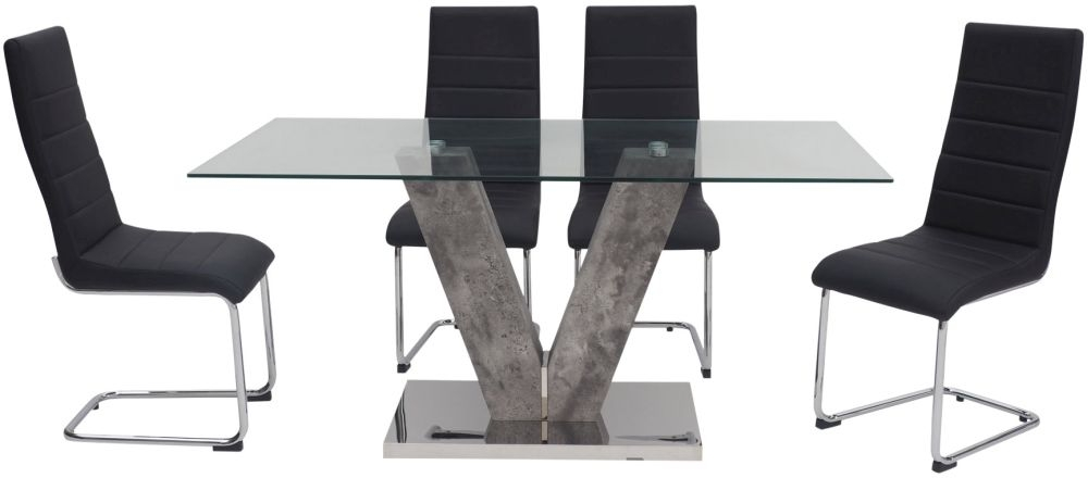 Dolce Dining Table and 4 Hugo Black Chairs - Glass and Grey Stone