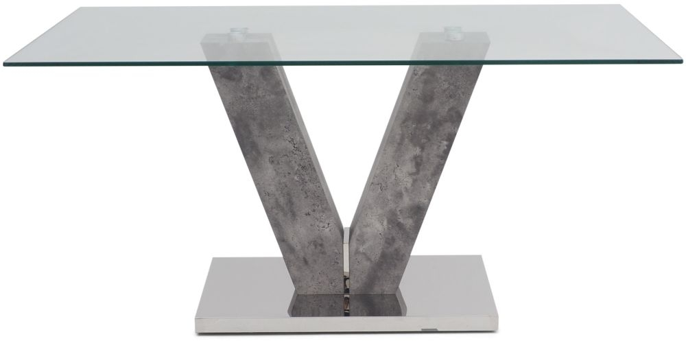 Dolce Dining Table - Glass and Grey Stone