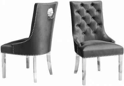 Donatello Dark Grey Velvet Dining Chair (Pair)