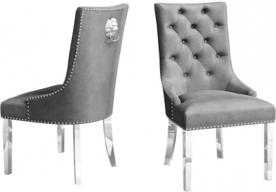 Donatello Silver Grey Velvet Dining Chair (Pair)