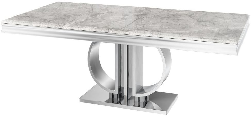 Donatello Light Grey Marble Large Dining Table