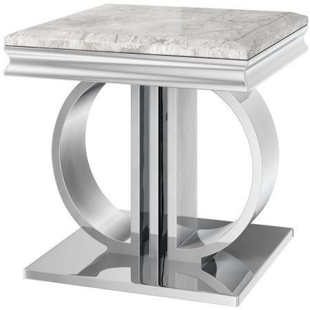 Donatello Light Grey Marble Side Table