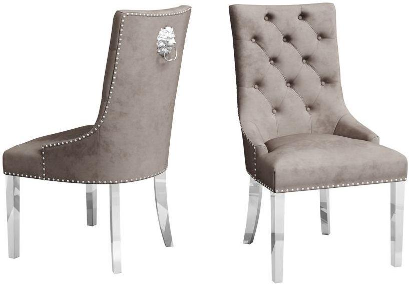 Donatello Mink Velvet Dining Chair (Pair)