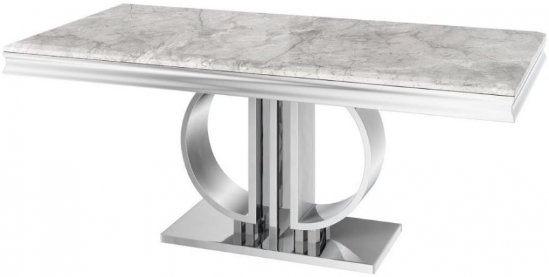 Donatello Light Grey Marble Dining Table
