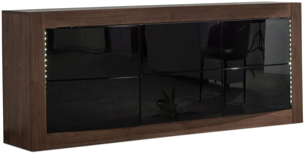 Doulton Sideboard with LED - Black Glass and Walnut