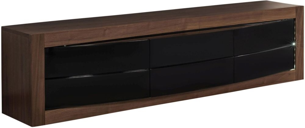 Doulton TV Unit with LED - Black Glass and Walnut