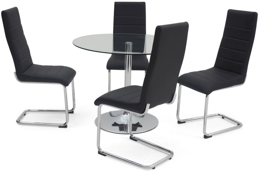 Elena Glass Dining Set with Polished Chrome Pedestal Base - 100cm Round with 4 Hugo Black Chairs