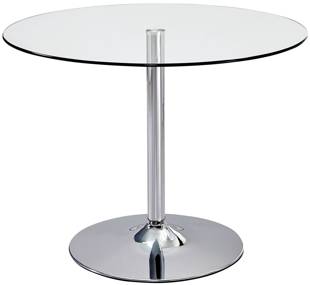 Elena Round Dining Table - Glass and Chrome