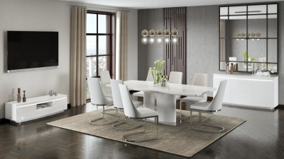 Flavio White High Gloss Butterfly Extending Dining Table and 4 Mia White Chairs