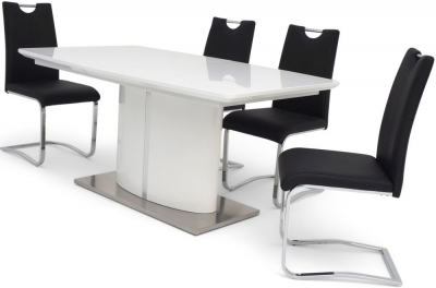 Flavio White High Gloss Butterfly Extending Dining Table and 4 Gabi Black Chairs