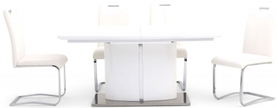 Flavio White High Gloss Butterfly Extending Dining Table and 4 Gabi White Chairs