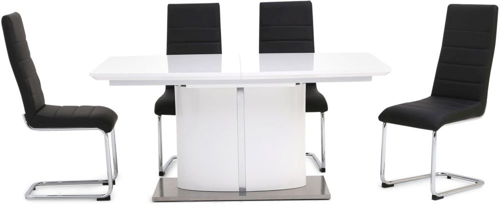 Flavio White High Gloss Dining Set with Glass Top - 160cm-220cm Rectangular Butterfly Extending with 4 Hugo Black Chairs