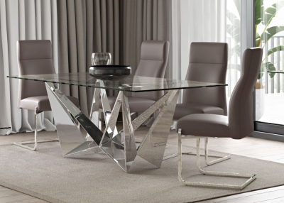 Florentina Glass and Chrome Dining Table with 4 Dante Taupe Chairs