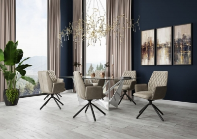Florentina Glass and Chrome Dining Table with 4 Zanetti Mink Chairs