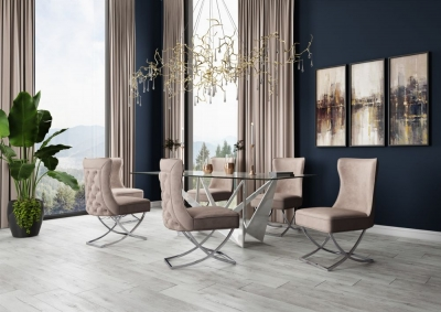 Florentina Glass and Chrome Dining Table with 4 Maria Mink Chairs