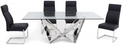 Florentina Glass Dining Table and 4 Dante Chairs - Chrome and Black