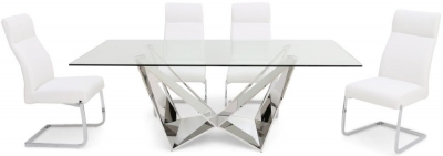 Florentina Glass Dining Table and 4 Dante Chairs - Chrome and White