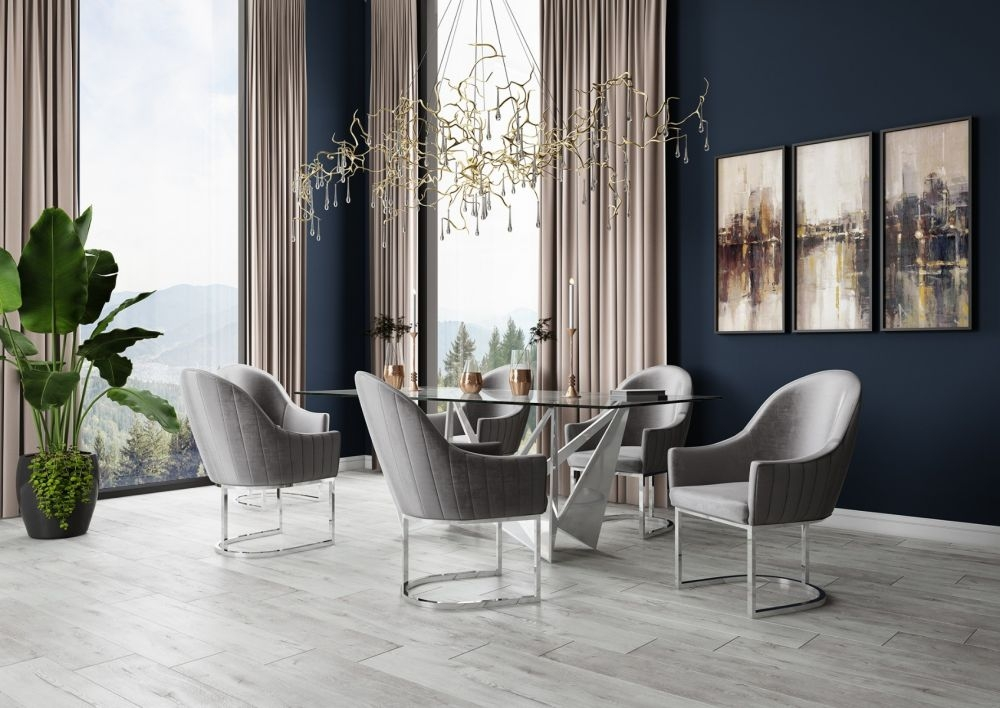 Florentina Glass and Chrome Dining Table with 4 Viola Silver Grey Chairs