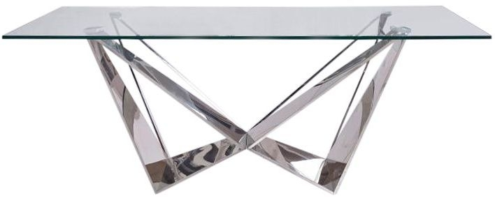 Florentina Glass Coffee Table with Stainless Steel Base