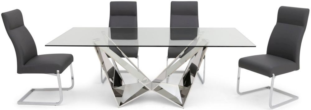 Florentina Glass Dining Table and 4 Dante Chairs - Chrome and Grey