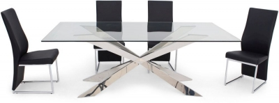 Gabriella Glass Dining Table and 4 Remo Chairs - Chrome and Black