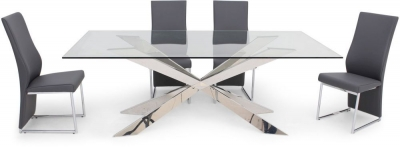 Gabriella Glass Dining Table and 4 Remo Chairs - Chrome and Grey