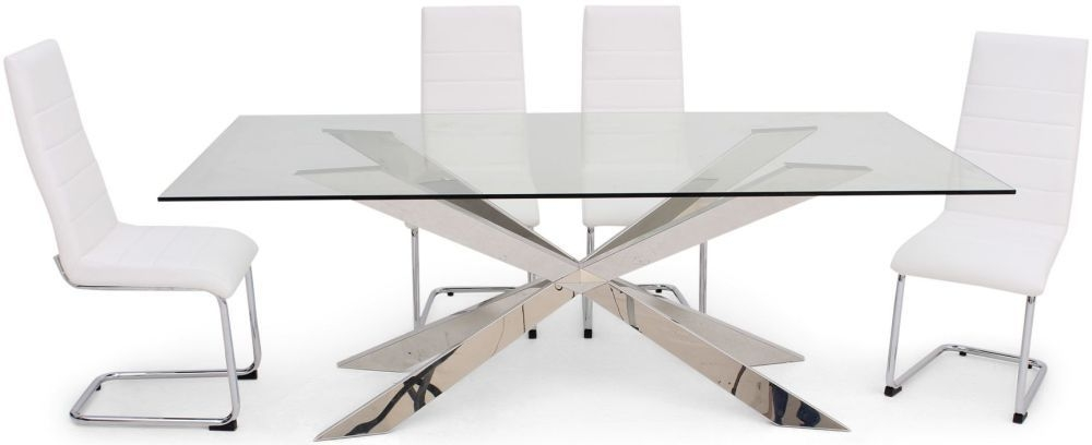 Gabriella Glass Dining Set with Stainless Steel Base - 210cm Rectangular with 4 Hugo White Chairs